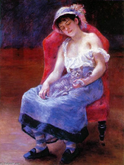 Sleeping Girl (aka Girl with a Cat) by Pierre-Auguste Renoir (1841-1919, France) | Famous Paintings Reproductions | WahooArt.com