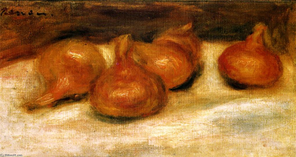 'Still Life with Onions', Oil by Pierre-Auguste Renoir (1841-1919, France)