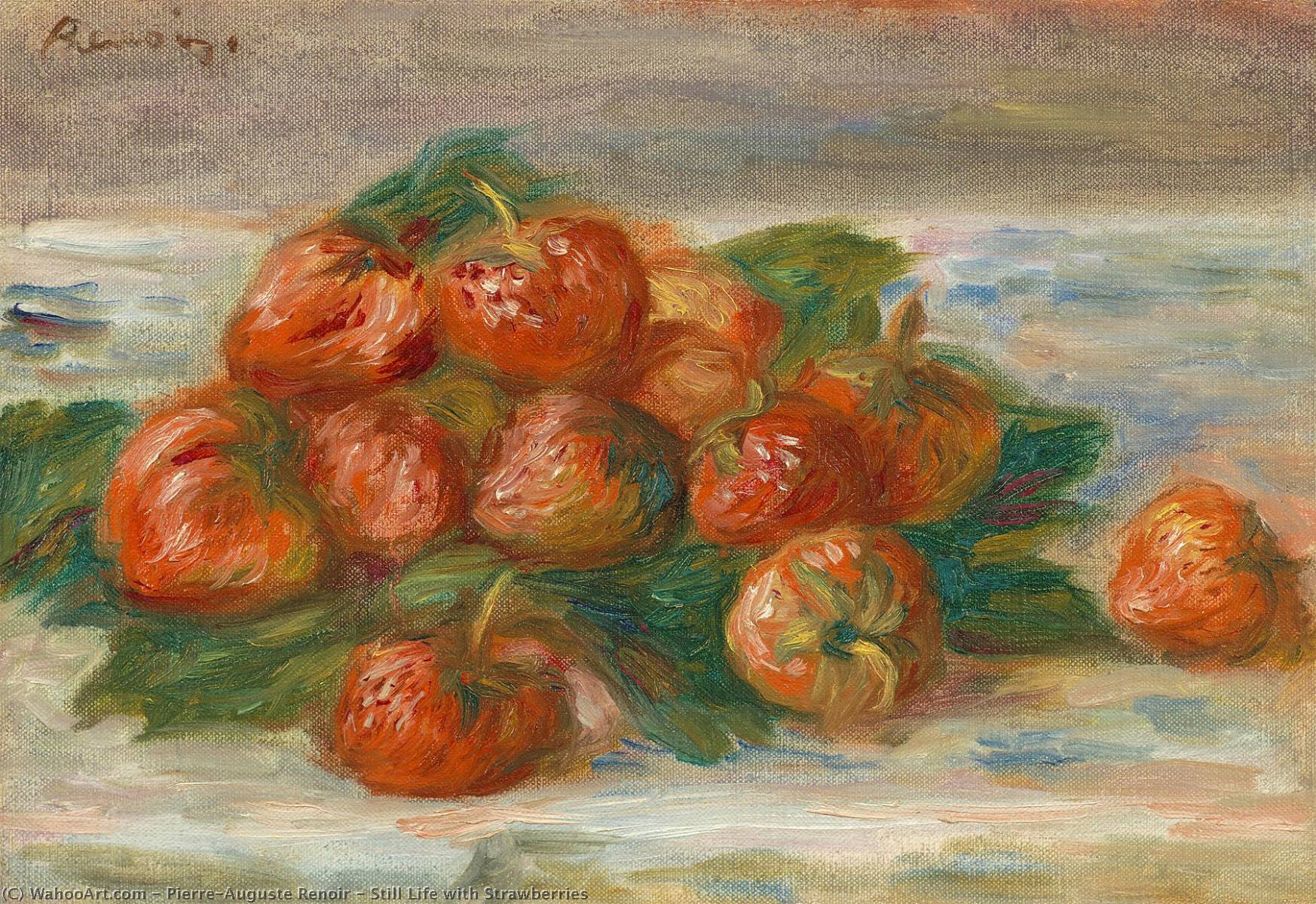 'Still Life with Strawberries', Oil by Pierre-Auguste Renoir (1841-1919, France)