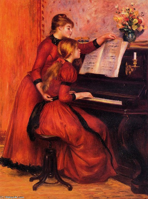 'The Piano Lesson', Oil by Pierre-Auguste Renoir (1841-1919, France)