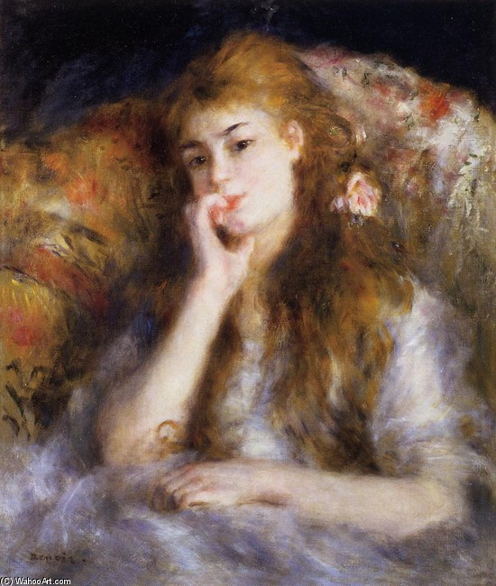 'The Thinker (aka Seated Young Woman)', Oil by Pierre-Auguste Renoir (1841-1919, France)