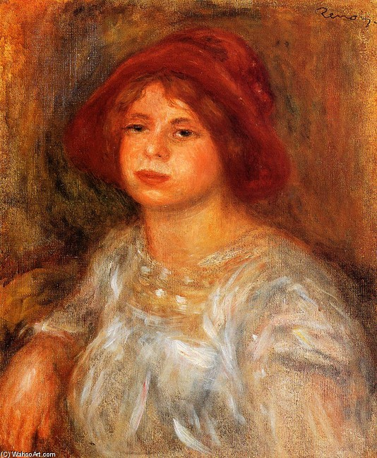 Young Girl Wearing a Red Hat by Pierre-Auguste Renoir (1841-1919, France) | Painting Copy | WahooArt.com