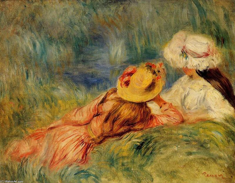 Young Girls by the Water by Pierre-Auguste Renoir (1841-1919, France) | Famous Paintings Reproductions | WahooArt.com