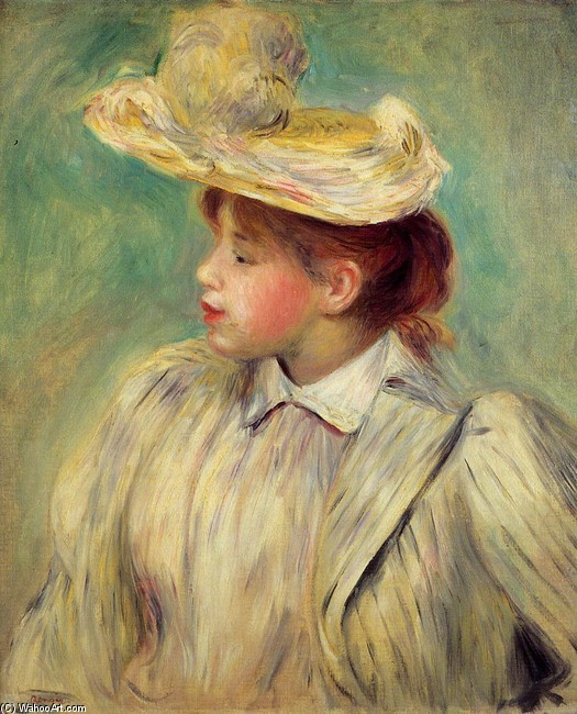 'Young Woman in a Straw Hat 2', Oil by Pierre-Auguste Renoir (1841-1919, France)