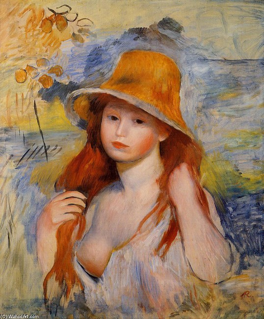 'Young Woman in a Straw Hat', Oil by Pierre-Auguste Renoir (1841-1919, France)