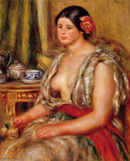 'Young Woman Seated in an Oriental Costume', Oil by Pierre-Auguste Renoir (1841-1919, France)