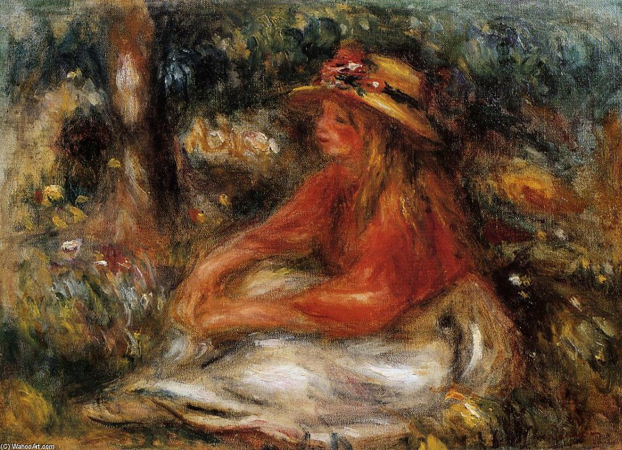 'Young Woman Seated on the Grass', Oil by Pierre-Auguste Renoir (1841-1919, France)