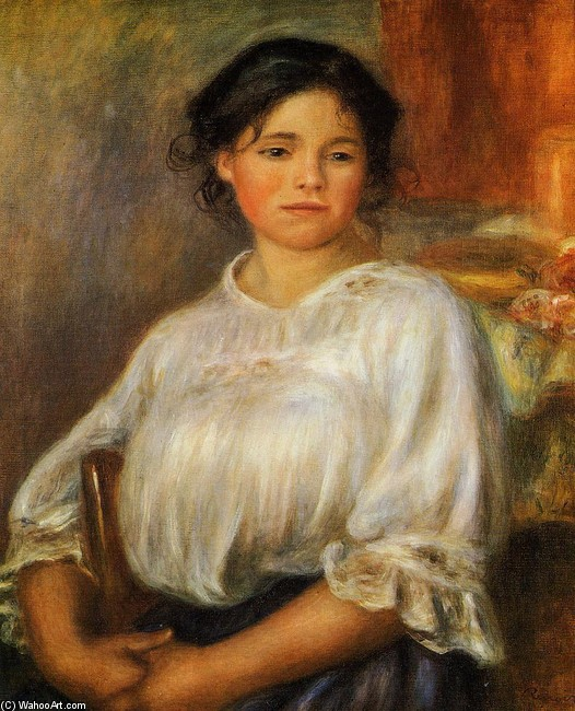 'Young Woman Seated', Oil by Pierre-Auguste Renoir (1841-1919, France)