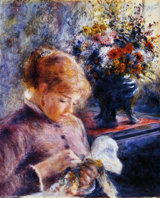 'Young Woman Sewing', Oil by Pierre-Auguste Renoir (1841-1919, France)