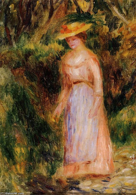 'Young Woman Taking a Walk', Oil by Pierre-Auguste Renoir (1841-1919, France)