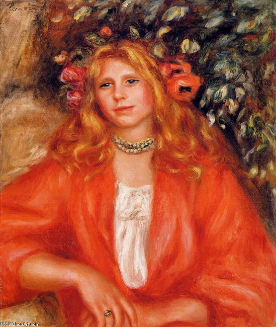 'Young Woman Wearing a Garland of Flowers', Oil by Pierre-Auguste Renoir (1841-1919, France)