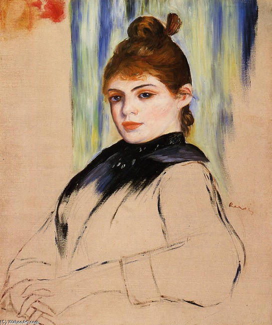 'Young Woman with a Bun in Her Hair', Oil by Pierre-Auguste Renoir (1841-1919, France)