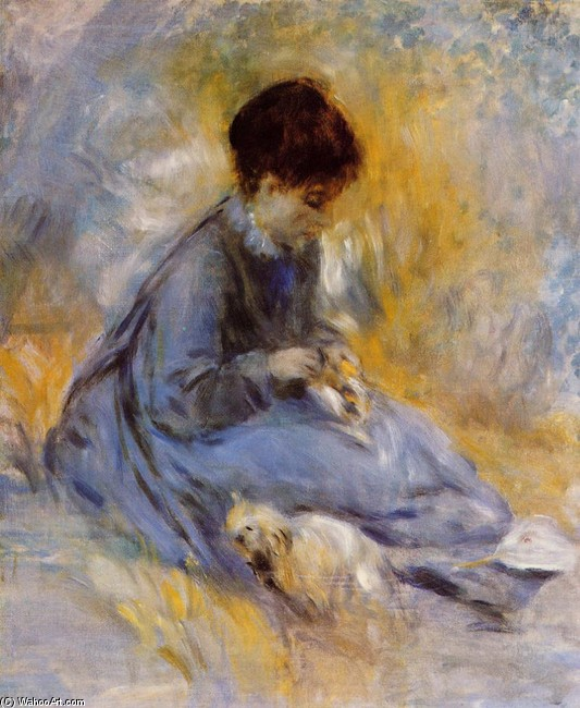 'Young Woman with a Dog', Oil by Pierre-Auguste Renoir (1841-1919, France)