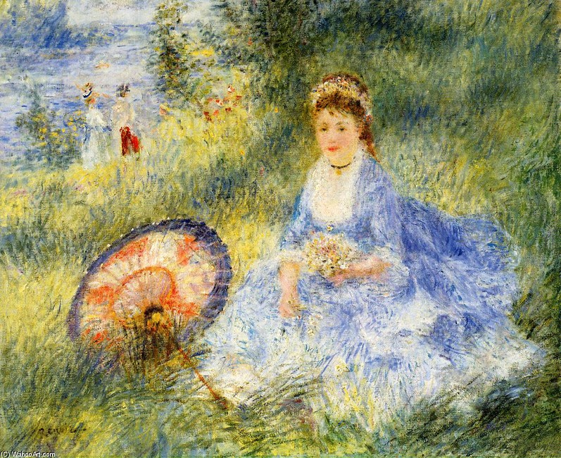 'Young Woman with a Japanese Umbrella', Oil by Pierre-Auguste Renoir (1841-1919, France)