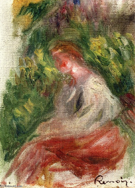 'Young Woman, Seated', Oil by Pierre-Auguste Renoir (1841-1919, France)