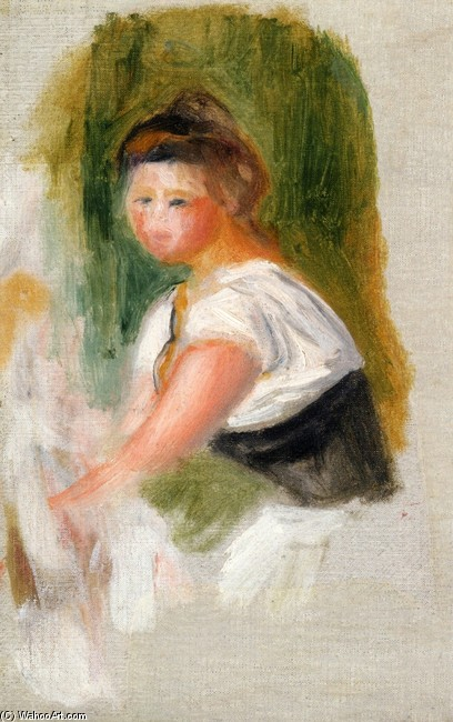 'Young Woman', Oil by Pierre-Auguste Renoir (1841-1919, France)