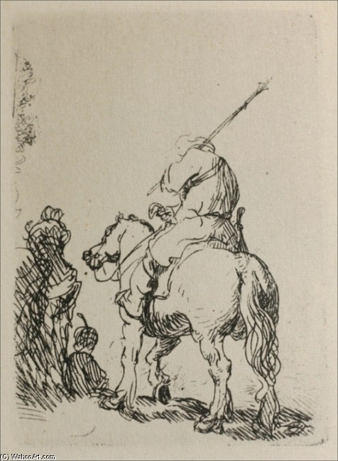 'A Man on Horesback', Engraving by Rembrandt Van Rijn (1606-1669, Netherlands)
