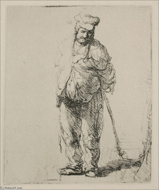 'A Ragged Peasant with his Hands Behind Him', Watercolor by Rembrandt Van Rijn (1606-1669, Netherlands)