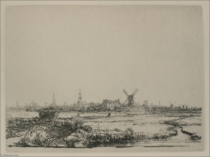 'A View of Amsterdam', Oil by Rembrandt Van Rijn (1606-1669, Netherlands)