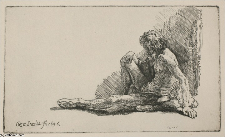 'An Acedemical Figure Seated on the Ground', Engraving by Rembrandt Van Rijn (1606-1669, Netherlands)