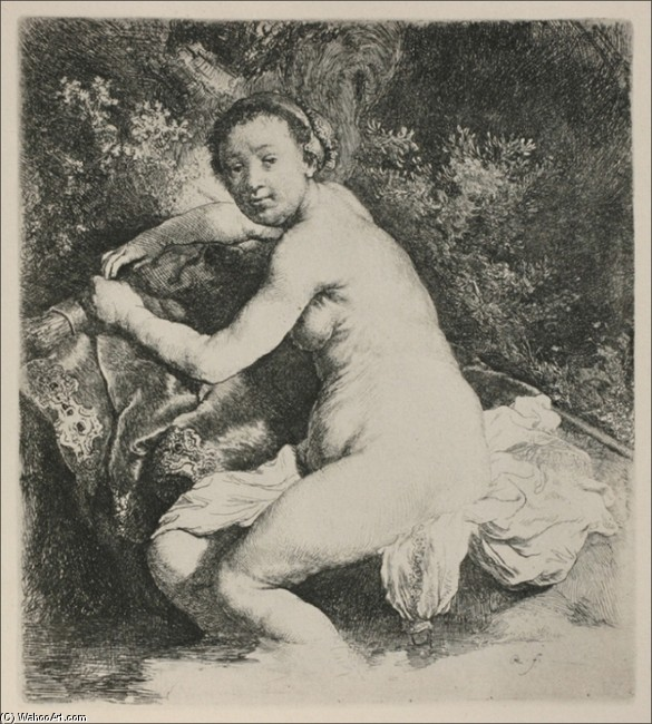 'Diana Bathing', Oil by Rembrandt Van Rijn (1606-1669, Netherlands)