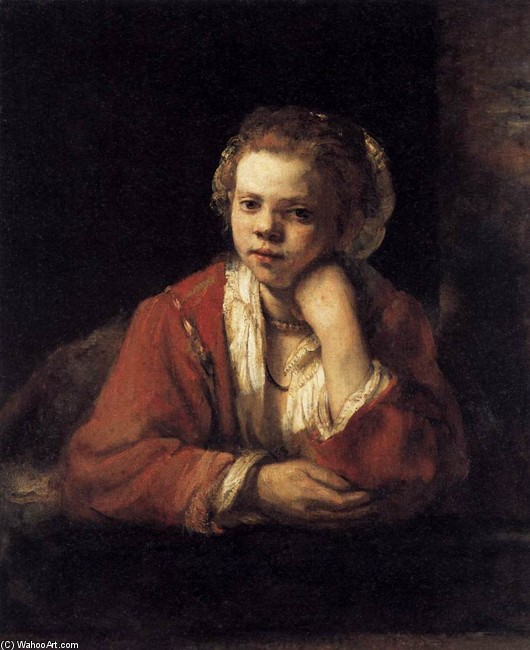 'Girl at a Window', Oil by Rembrandt Van Rijn (1606-1669, Netherlands)