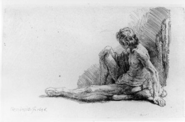 'Nude Man Seated on the Ground with One Leg Extended', Oil by Rembrandt Van Rijn (1606-1669, Netherlands)