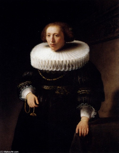 'Portrait of a Standing Woman', Oil by Rembrandt Van Rijn (1606-1669, Netherlands)