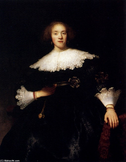 'Portrait Of A Young Woman With A Fan', Oil by Rembrandt Van Rijn (1606-1669, Netherlands)