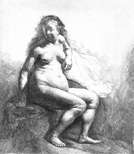 'Seated Female Nude', Watercolor by Rembrandt Van Rijn (1606-1669, Netherlands)