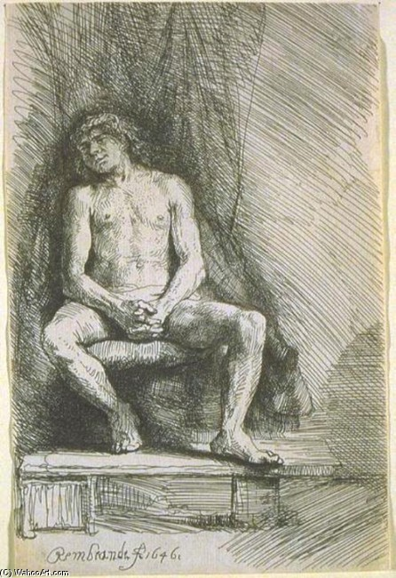 'Study from the Nude Man Seated before a Curtain', Oil by Rembrandt Van Rijn (1606-1669, Netherlands)
