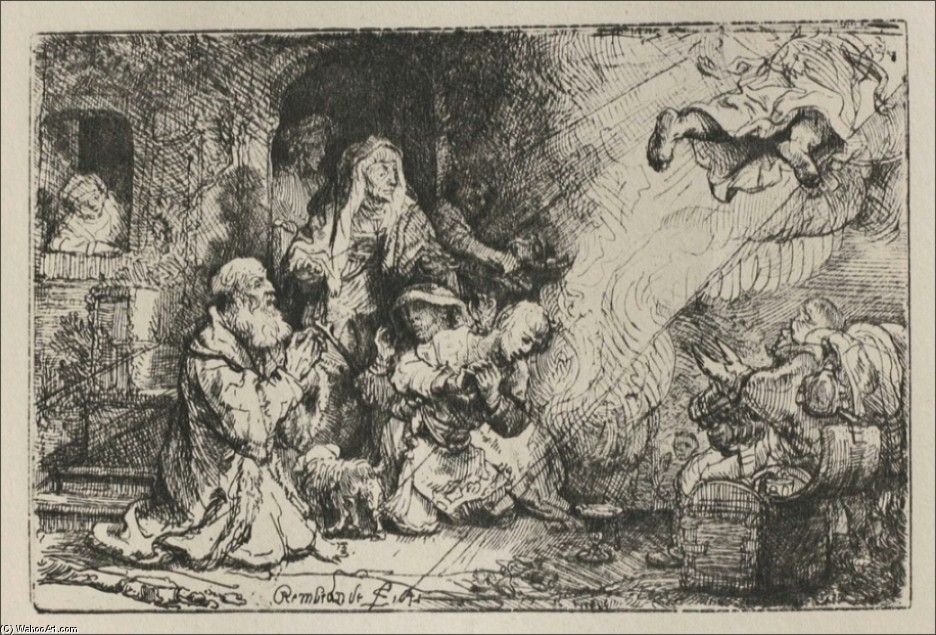 'The Angel Asceding from Tobit and his Family', Engraving by Rembrandt Van Rijn (1606-1669, Netherlands)