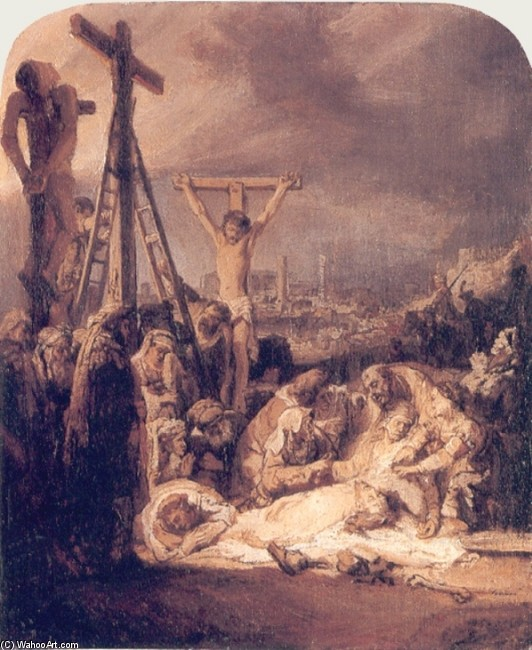 'The Lamentation over the Dead Christ', Oil by Rembrandt Van Rijn (1606-1669, Netherlands)