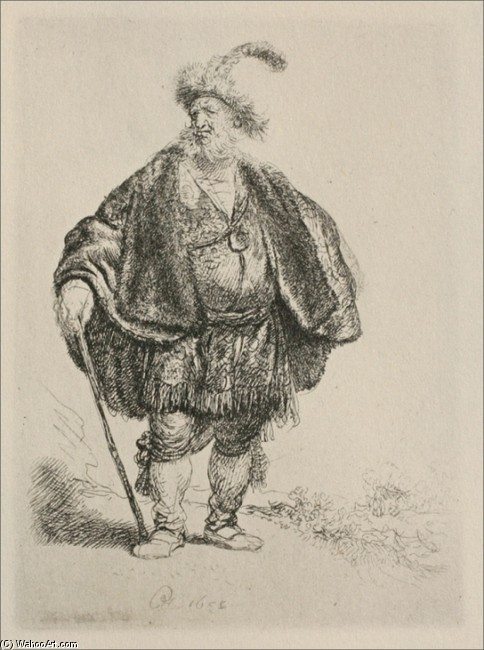 'The Persian', Engraving by Rembrandt Van Rijn (1606-1669, Netherlands)