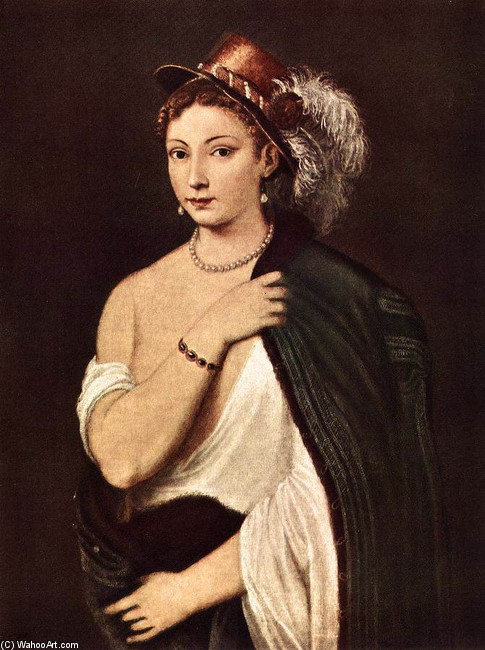 'Portrait of a Young Woman 1', Oil by Titian - Tiziano Vecelli (1488-1576, Italy)