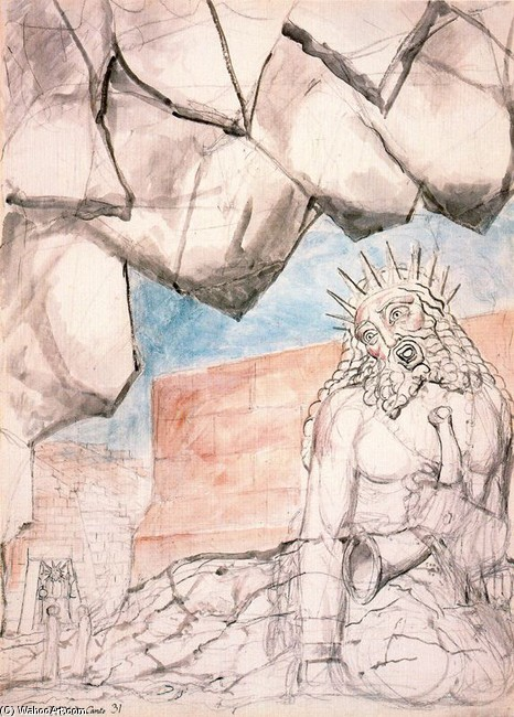 'The giant Nimrod', Oil by William Blake (1757-1827, United Kingdom)