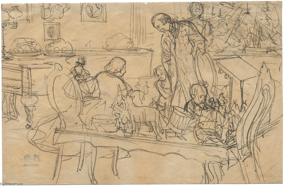 'Christmas. Mess with the family', Drawing by Adolph Von Menzel (1815-1905, German)