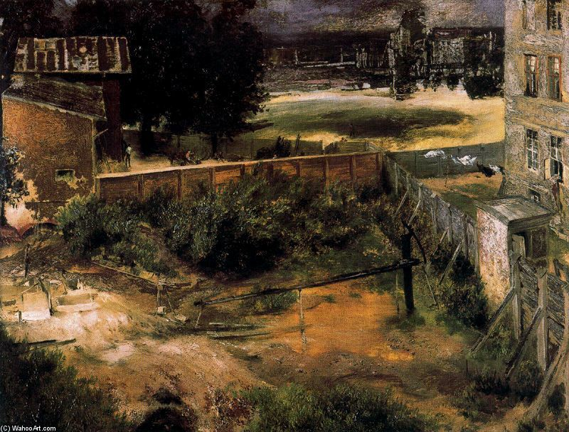 'Rear of House and Backyard' by Adolph Von Menzel (1815-1905, German)