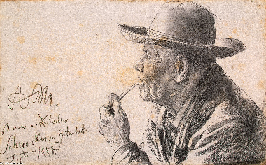 'Study of a Man in a Hat with a Pipe', Drawing by Adolph Von Menzel (1815-1905, German)