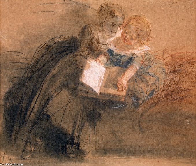 'Young Woman with a Child', Drawing by Adolph Von Menzel (1815-1905, German)