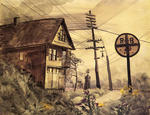 Charles Burchfield - House By A Railroad