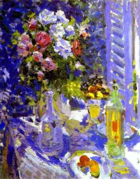 'Flowers and Fruit', Drawing by Constantin Alexeevich Korovin (1861-1939, Russia)