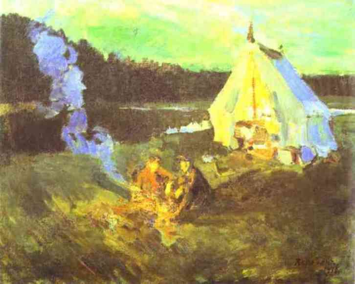 Hunter`s Tent by Constantin Alexeevich Korovin (1861-1939, Russia) | Famous Paintings Reproductions | WahooArt.com