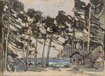 Constantin Alexeevich Korovin - Stage design depicting a Wooded Landscape by the Sea