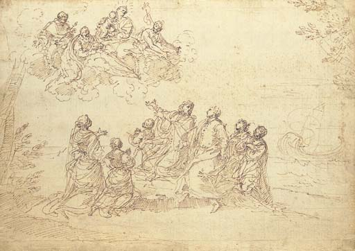 'A patrician family kneeling on a seashore experiencing a vision of the Madonna and Child and Saint Dominic, Saint John the Baptist and another saint', Drawing by Donato Creti (1671-1749, Italy)