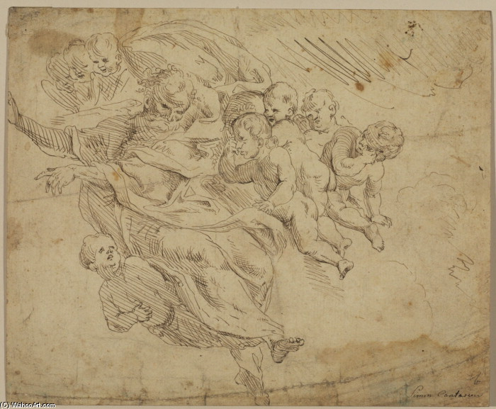 'God the Father supported by angels', Drawing by Donato Creti (1671-1749, Italy)