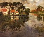 Frits Thaulow - Cottages by a River