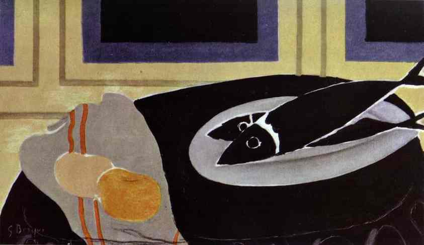 The Black Fish by Georges Braque (1882-1963, France) | Famous Paintings Reproductions | WahooArt.com