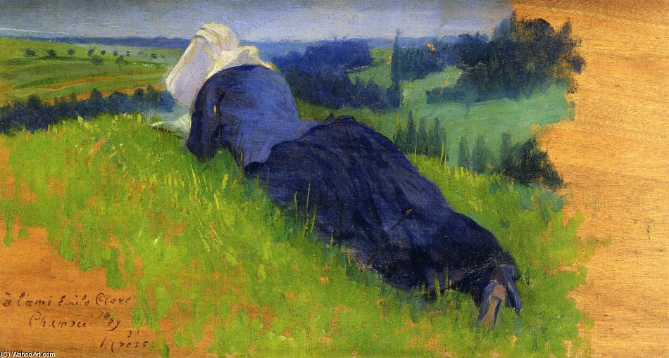 'Peasant Woman Stretched out on the Grass' by Henri Edmond Cross (1856-1910, France)