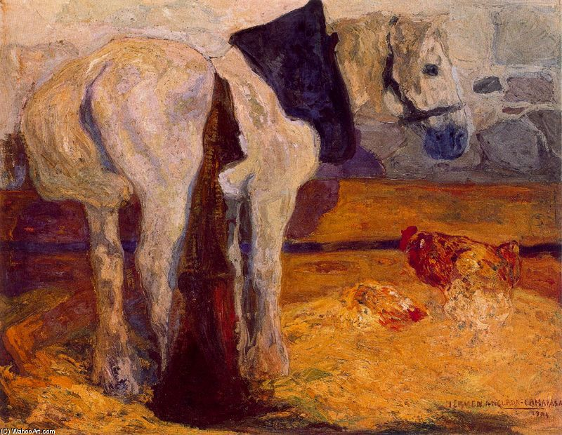 'Horse and Rooster' by Hermen Anglada Camarasa (1871-1959, Spain)